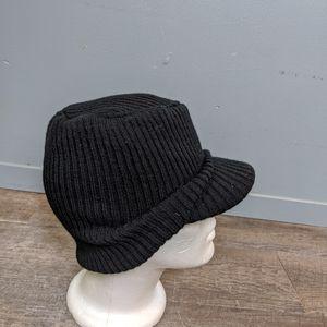 Vintage Knit Cap With Brim, Retro Slouch Hat